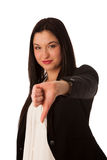 Asian business woman showing thumb down isolated over white Stock Photography