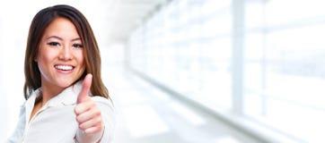 Asian Business woman showing thumb. stock photos