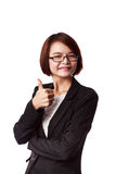 Asian business woman showing thumbs up Royalty Free Stock Images