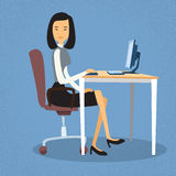 Asian Business Woman Sitting At Desk In Office Working Computer Desktop Royalty Free Stock Photos