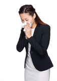 Asian business woman sneeze. Isolated on white Royalty Free Stock Image