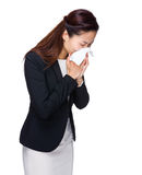 Asian business woman sneeze Royalty Free Stock Image