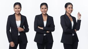 Asian Business Woman Stand in Black Formal Suit. Portrait half body Snap Figure, Asian Business Woman Stand in black Formal proper Suit pants, studio lighting stock image