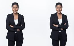 Asian Business Woman Stand in Black Formal Suit. Portrait half body Snap Figure, Asian Business Woman Stand in black Formal proper Suit pants, studio lighting royalty free stock photos