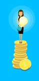 Asian Business Woman Stand On Coins Hold Light Bulb Success Idea Wealth Concept. Flat Vector Illustration Stock Photos