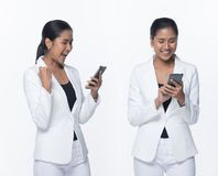 Asian Business Woman Stand in White Formal Suit. Portrait Half Body Snap Figure, Asian Business Woman Stand in White Formal proper Suit pants, studio lighting stock photography