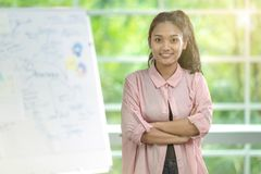 Asian business woman standing with self-confident look directly stock photography