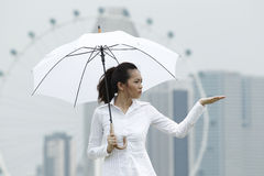 Asian business woman standing under an Umbrella Stock Photo
