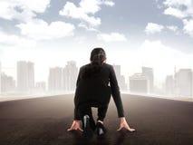 Asian business woman start run Royalty Free Stock Image