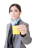 Asian business woman with sticker Royalty Free Stock Photography