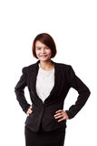 Asian business woman in suit smiling Stock Photos
