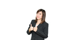 Asian Business  woman in suit thump up her finger portrait Stock Image