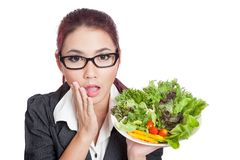 Asian business woman surprise with salad Stock Photography