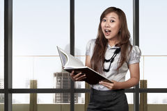 Asian business woman with surprised face expression Stock Photos