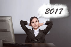 Asian business woman think about target in 2017 Stock Images