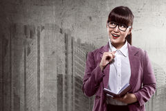 Asian business woman thinking Royalty Free Stock Photography
