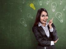 Asian business woman thinking something Stock Image