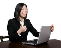 Asian business woman thumbs up Royalty Free Stock Photo