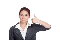 Asian business woman thumbs up  and smile Royalty Free Stock Photos