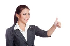 Asian business woman thumbs up  and smile Stock Photos