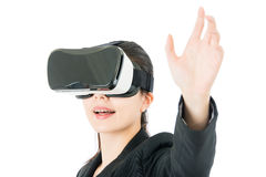 Asian business woman touch screen by VR headset glasses Stock Photography