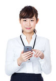 Asian business woman touching mobile Stock Photo