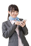 Asian business woman use cellphone Stock Photo