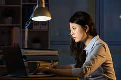 Asian business woman use laptop working overtime late night Royalty Free Stock Photos