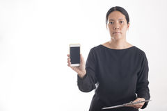 Asian business woman use smart phone Stock Images