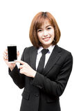 Asian business woman using her smartphone Stock Images