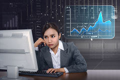 Asian business woman working with computer with virtual market c Royalty Free Stock Photos