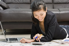 Asian business woman working from home Stock Photo