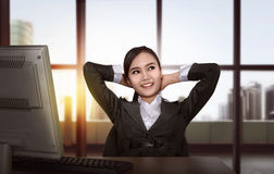 Asian business woman working Stock Image