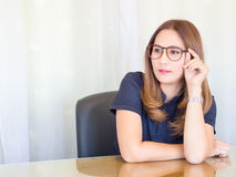 Asian business Woman working in office. wear glasses stock photos