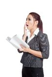 Asian business woman yawn with a book Royalty Free Stock Photography