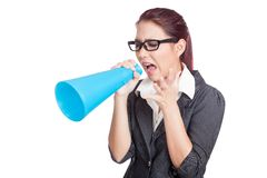 Asian business woman yell with anger Royalty Free Stock Image
