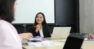 Asian business women and group using notebook for meeting and bu. Siness women smiling happy for working Stock Images