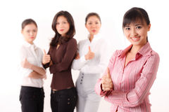 Asian business women with thumbs up Royalty Free Stock Photography