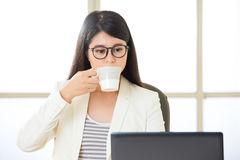 Asian business women working and drinking coffee on laptop Royalty Free Stock Image