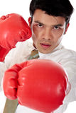 Asian Businessman boxing gloves Stock Image