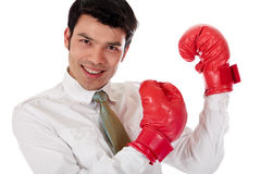 Asian Businessman boxing gloves Royalty Free Stock Image