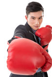 Asian businessman with boxing gloves Stock Image