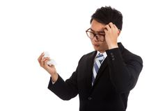 Asian businessman caught cold. headache hold tissue. Royalty Free Stock Image
