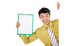 Asian businessman clipboard Royalty Free Stock Images