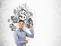Asian businessman and dollar sign sketch Royalty Free Stock Image