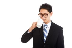 Asian businessman drinking coffee Stock Photography