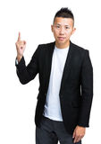 Asian businessman finer pointing up Stock Photography