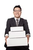 Asian businessman give 3 box and smile Royalty Free Stock Photography