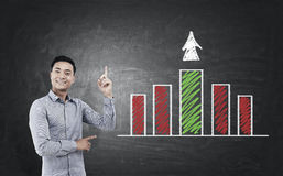 Asian businessman and a green and red graph Royalty Free Stock Images