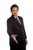 Asian businessman greeting with  hand shake Royalty Free Stock Photography
